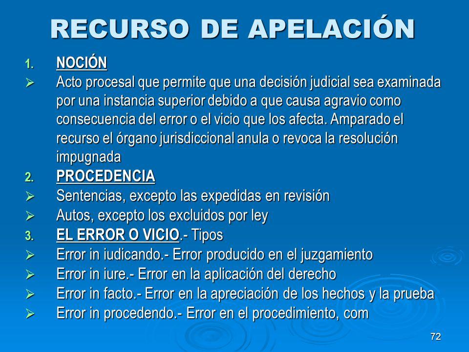 RECURSO DE APELACIÓN PROCEDENCIA