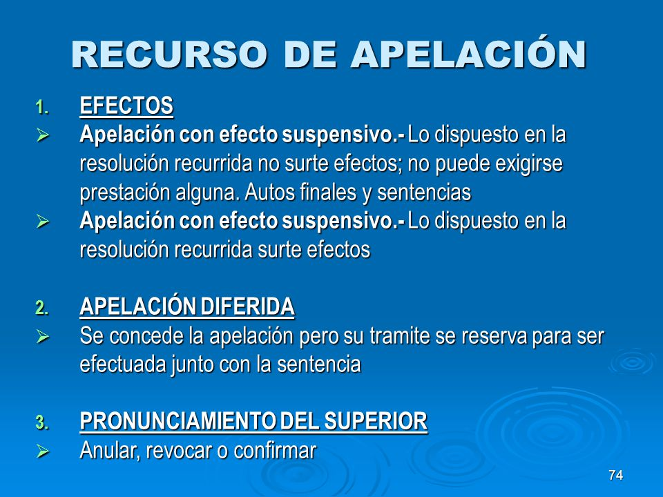RECURSO DE APELACIÓN EFECTOS