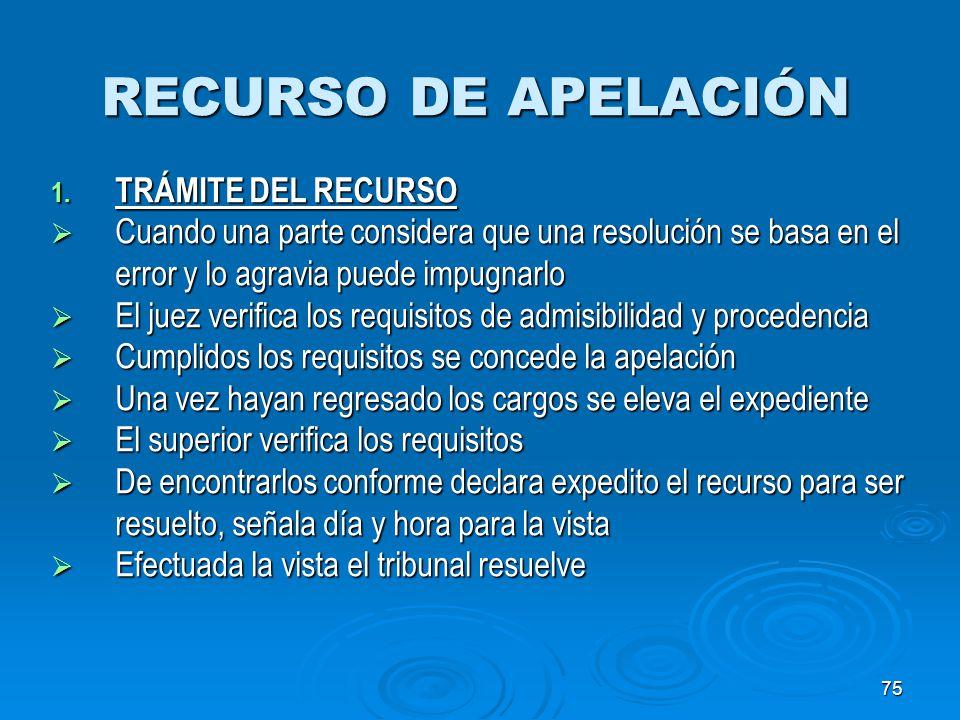 RECURSO DE APELACIÓN TRÁMITE DEL RECURSO