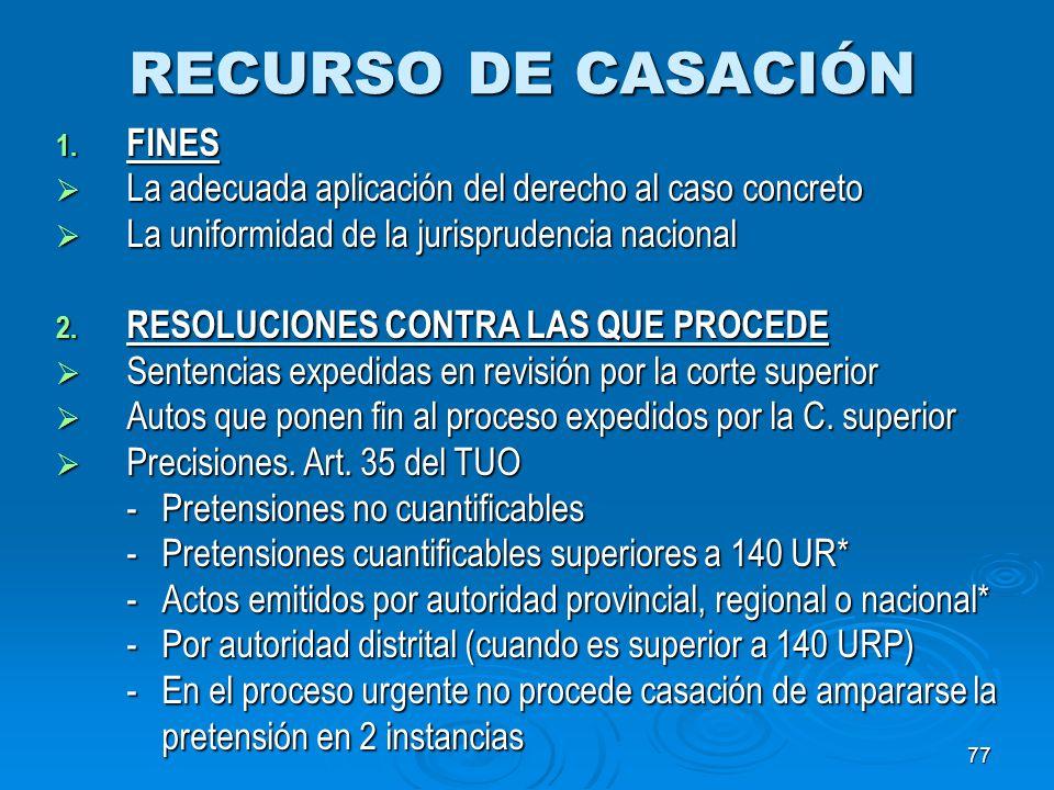 RECURSO DE CASACIÓN FINES