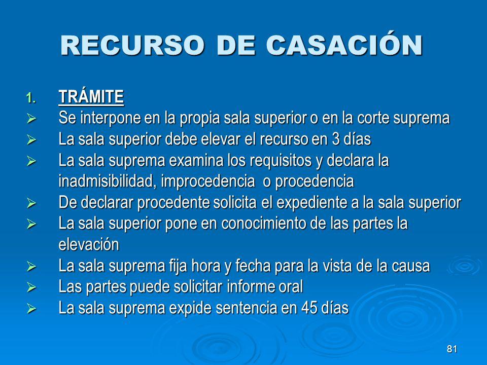 RECURSO DE CASACIÓN TRÁMITE