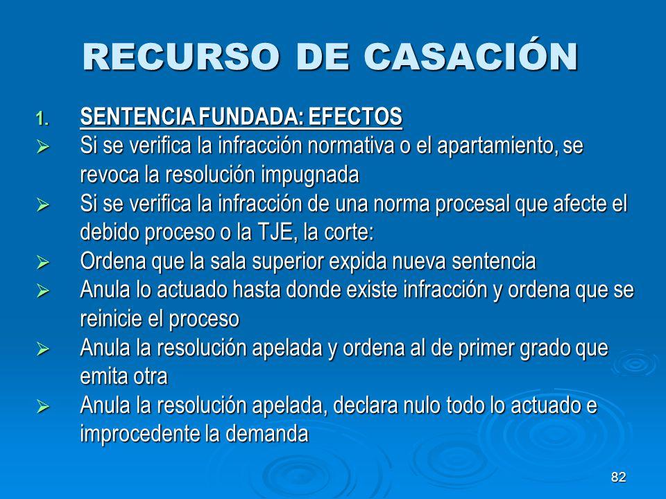 RECURSO DE CASACIÓN SENTENCIA FUNDADA: EFECTOS