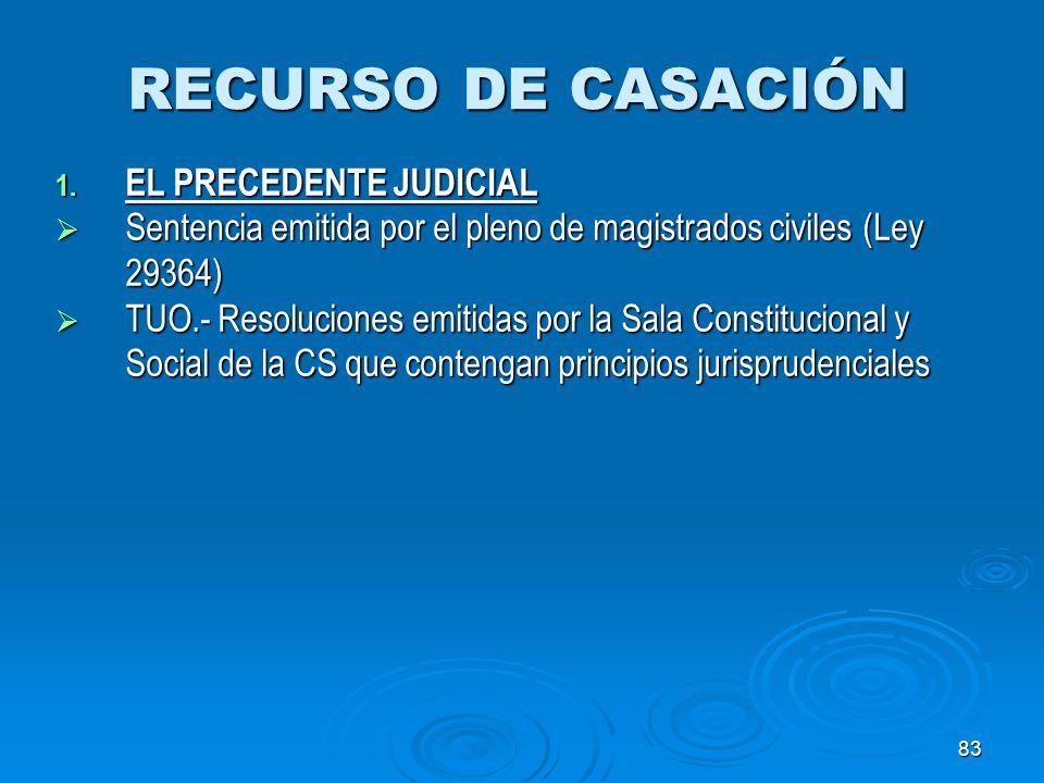 RECURSO DE CASACIÓN EL PRECEDENTE JUDICIAL