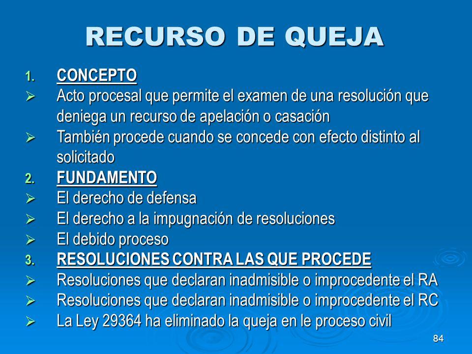 RECURSO DE QUEJA CONCEPTO
