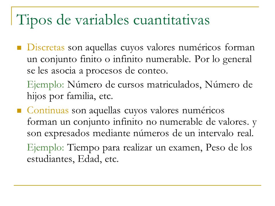 Tipos de variables cuantitativas