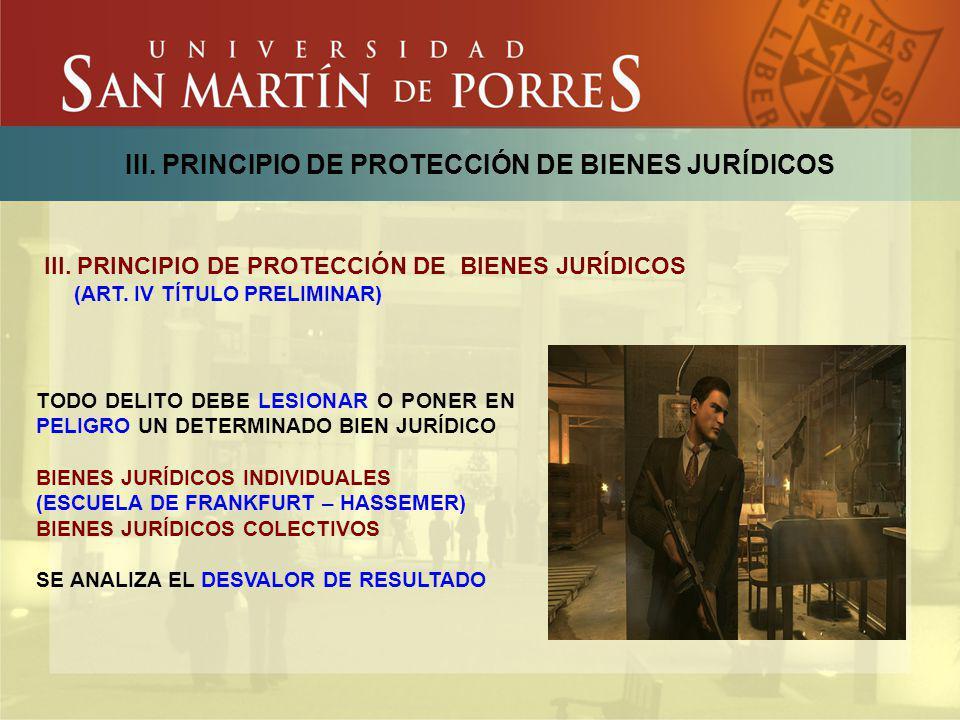 III. PRINCIPIO DE PROTECCIÓN DE BIENES JURÍDICOS