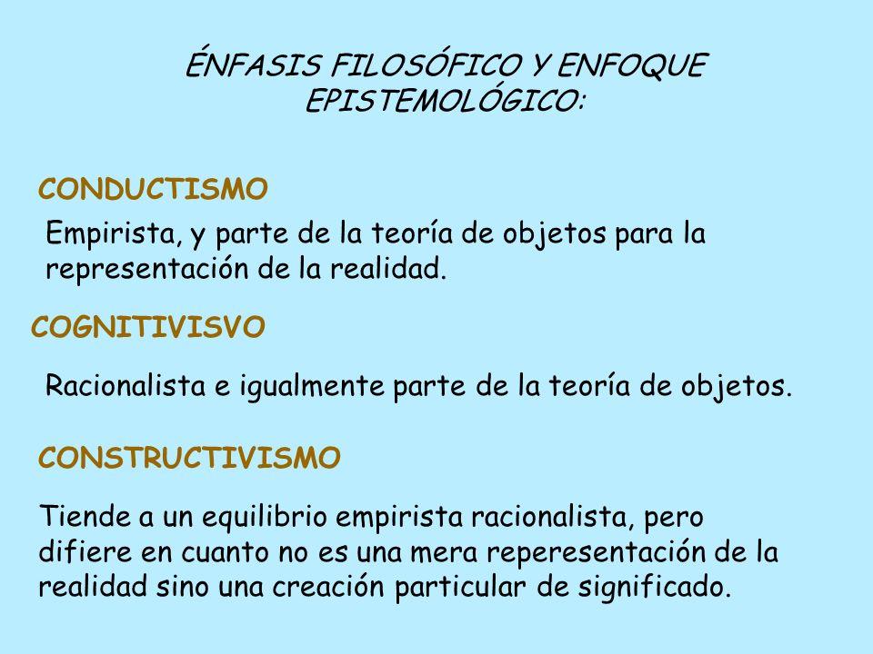 ÉNFASIS FILOSÓFICO Y ENFOQUE EPISTEMOLÓGICO: