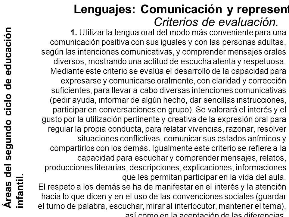 Lenguajes: Comunicación y representación. Criterios de evaluación.