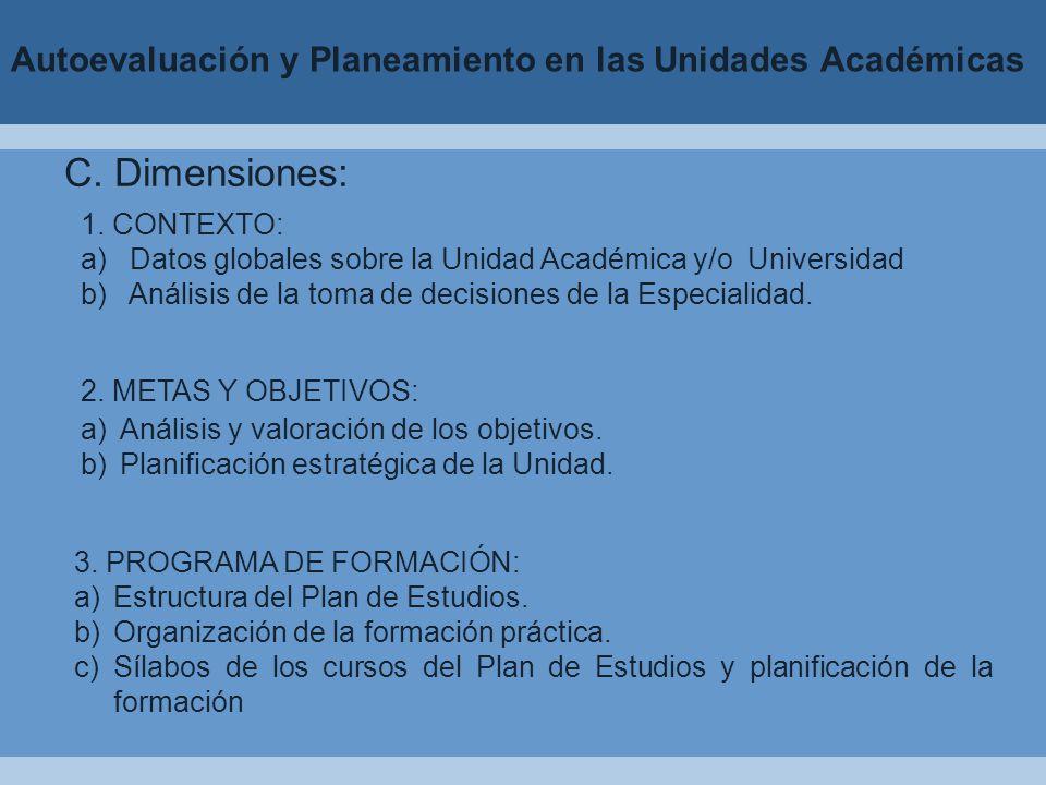 Autoevaluación y Planeamiento en las Unidades Académicas