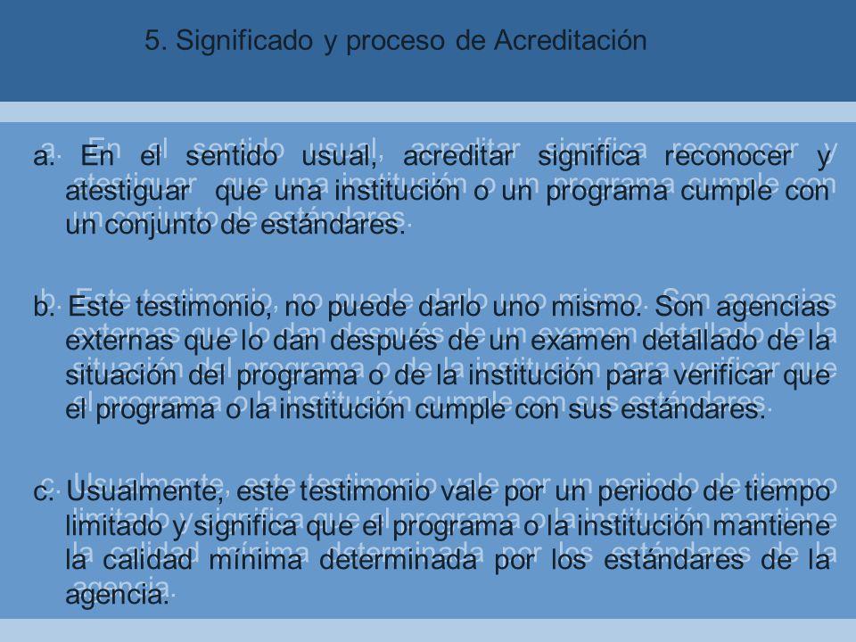 5. Significado y proceso de Acreditación