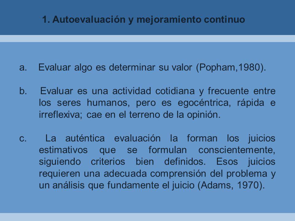1. Autoevaluación y mejoramiento continuo