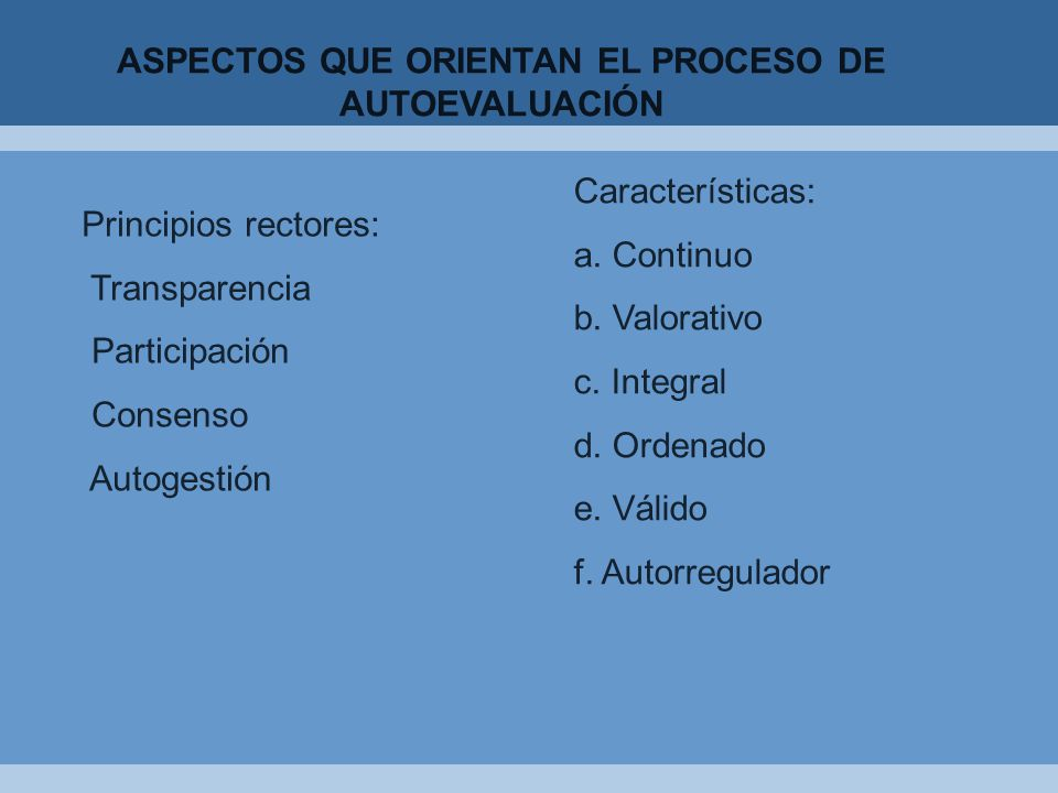 ASPECTOS QUE ORIENTAN EL PROCESO DE AUTOEVALUACIÓN