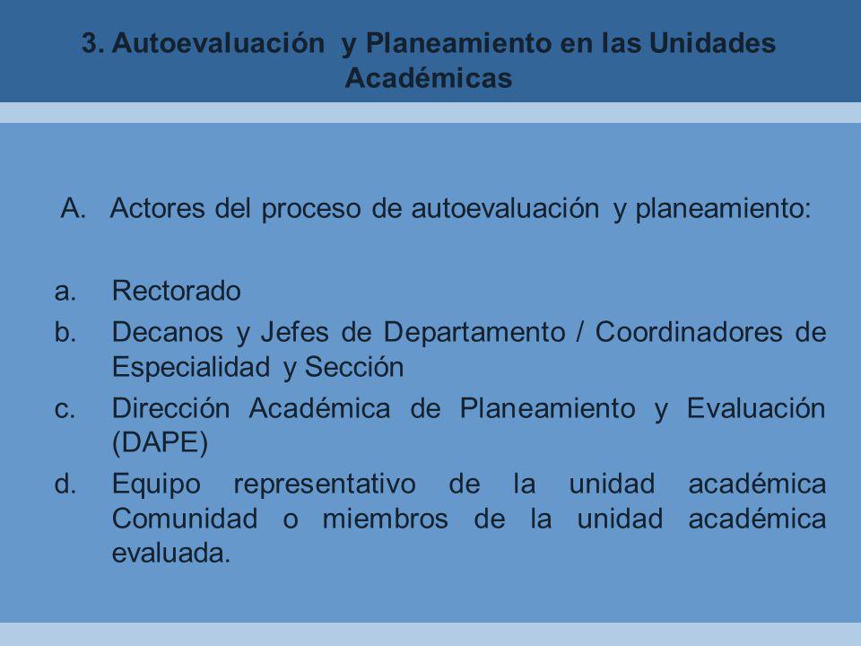 3. Autoevaluación y Planeamiento en las Unidades Académicas