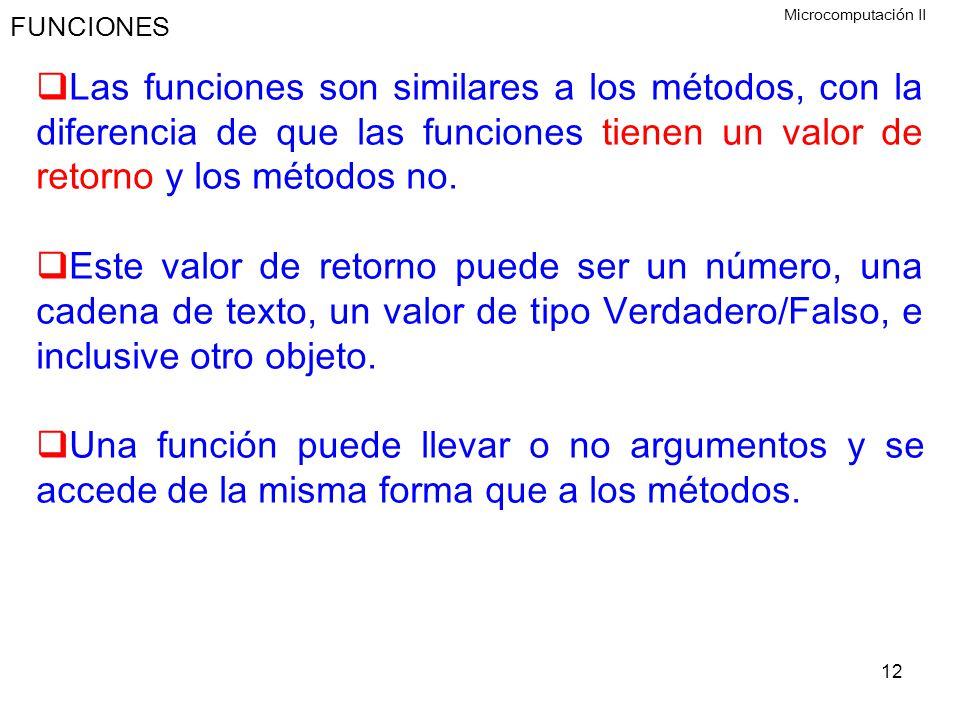FUNCIONES Microcomputación II.
