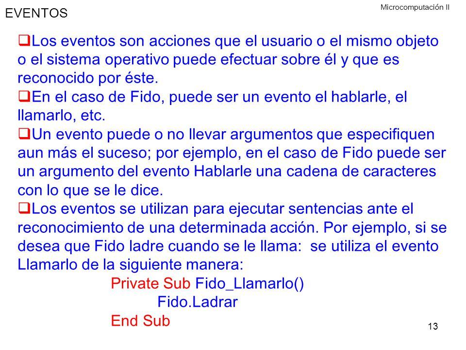 En el caso de Fido, puede ser un evento el hablarle, el llamarlo, etc.