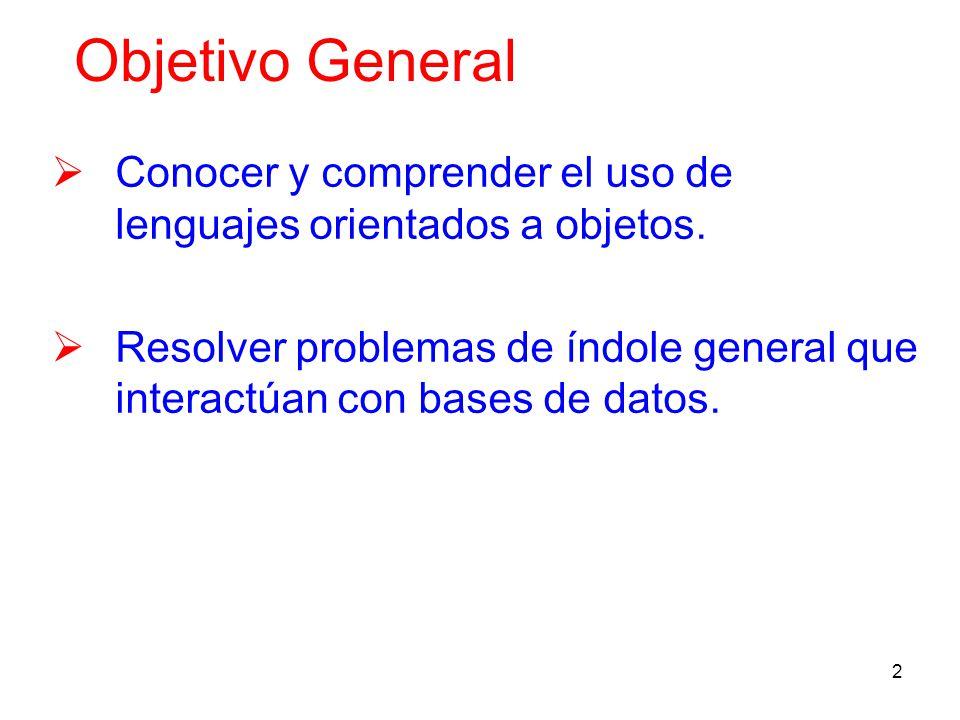 Objetivo General Conocer y comprender el uso de lenguajes orientados a objetos.