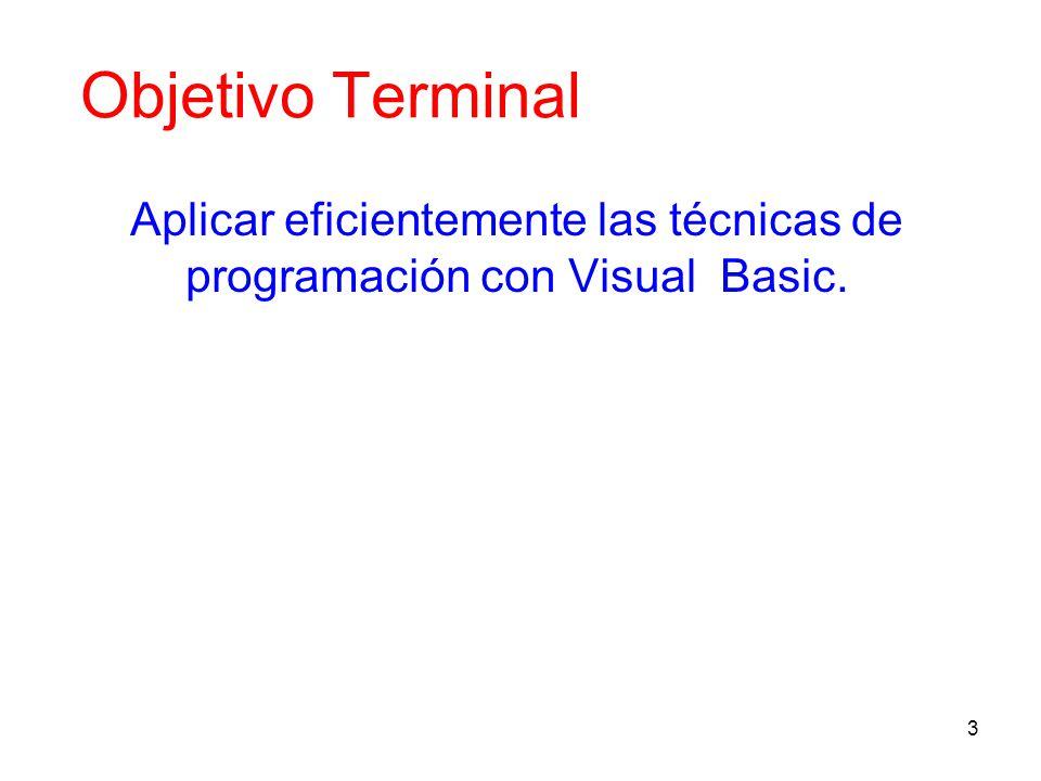 Aplicar eficientemente las técnicas de programación con Visual Basic.