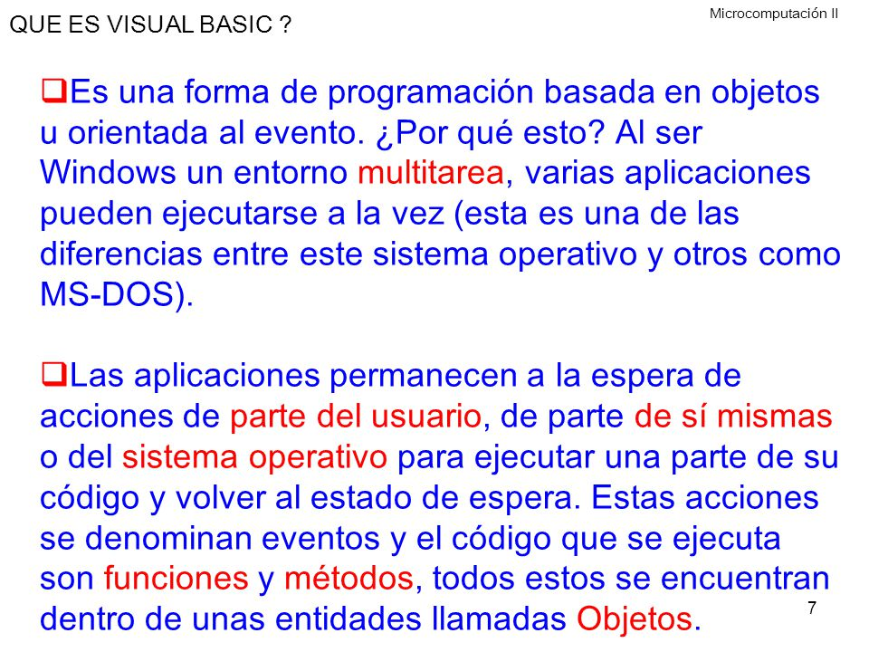 QUE ES VISUAL BASIC Microcomputación II.