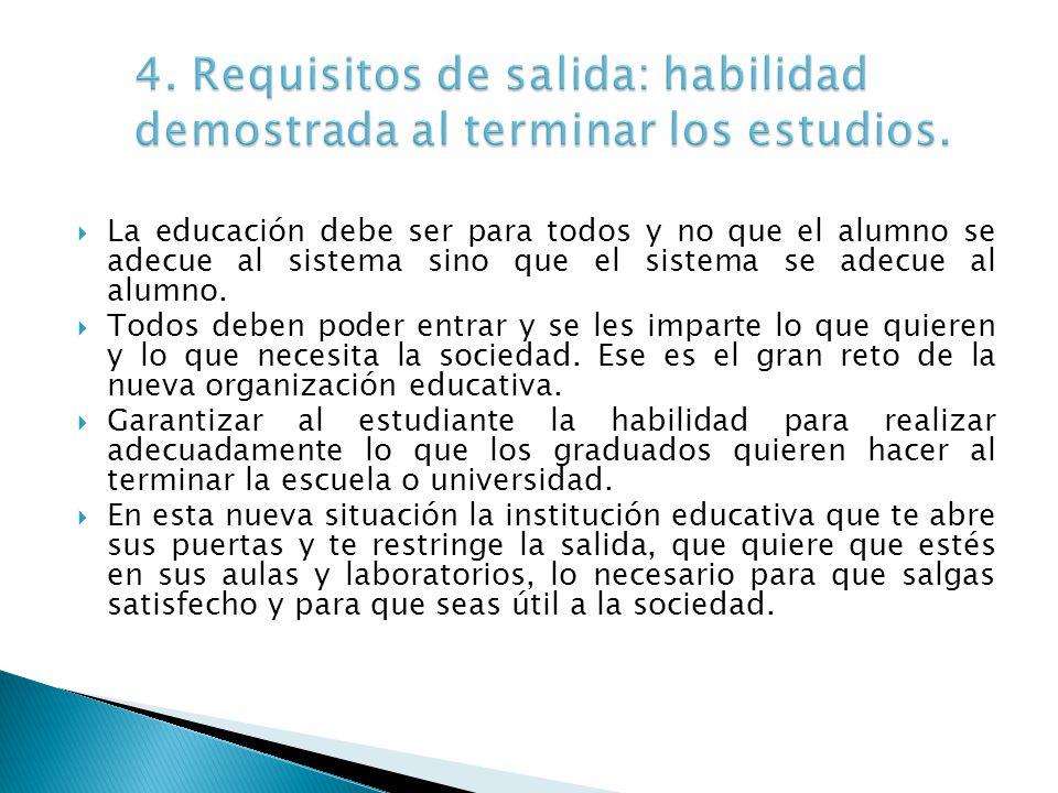 4. Requisitos de salida: habilidad demostrada al terminar los estudios.