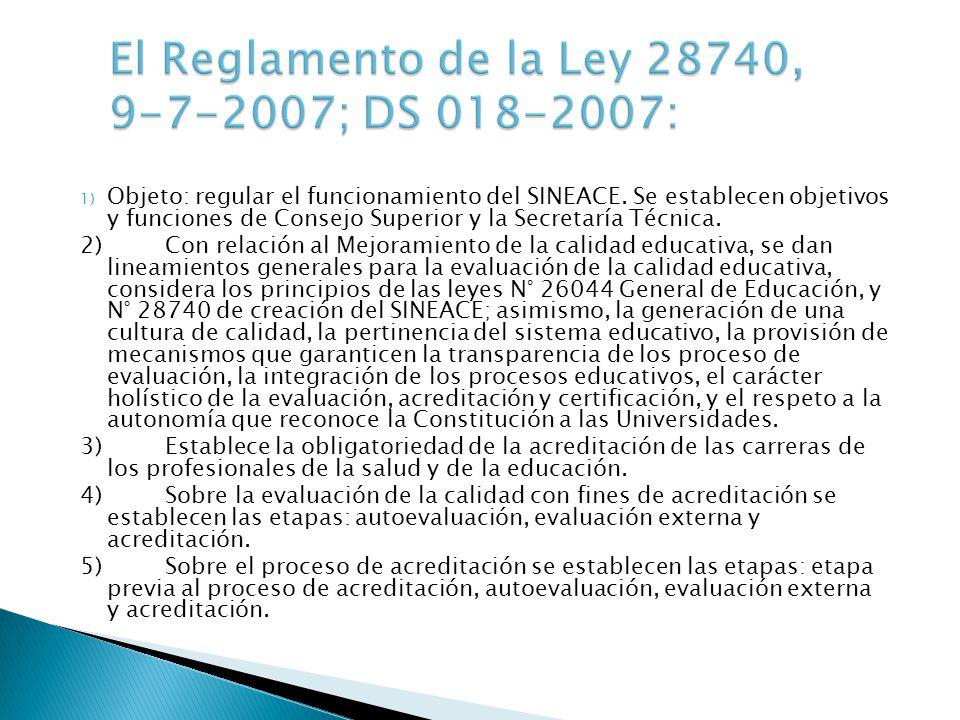 El Reglamento de la Ley 28740, 9-7-2007; DS 018-2007: