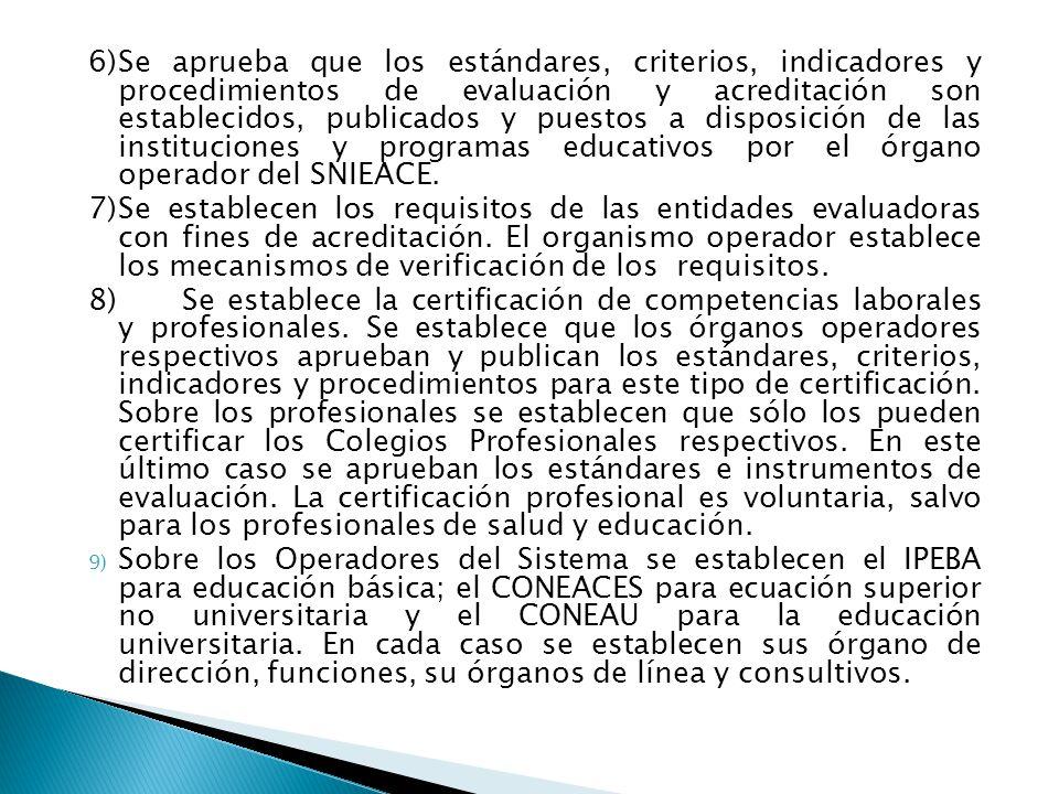6) Se aprueba que los estándares, criterios, indicadores y procedimientos de evaluación y acreditación son establecidos, publicados y puestos a disposición de las instituciones y programas educativos por el órgano operador del SNIEACE.