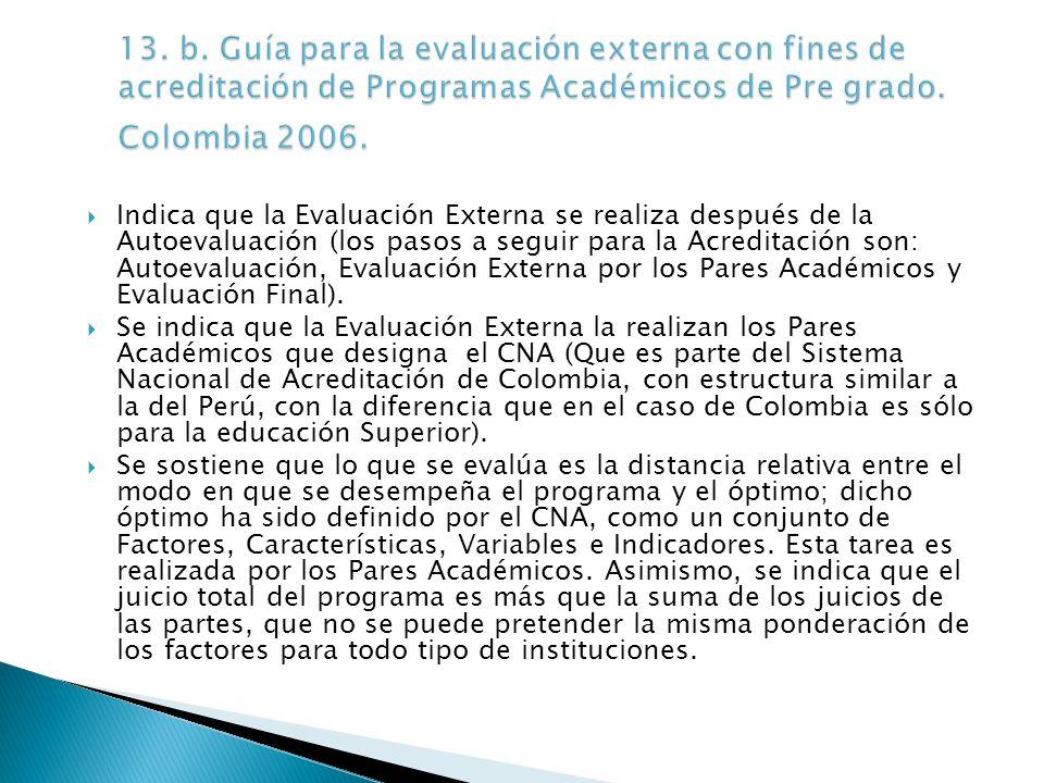 13. b. Guía para la evaluación externa con fines de acreditación de Programas Académicos de Pre grado. Colombia 2006.