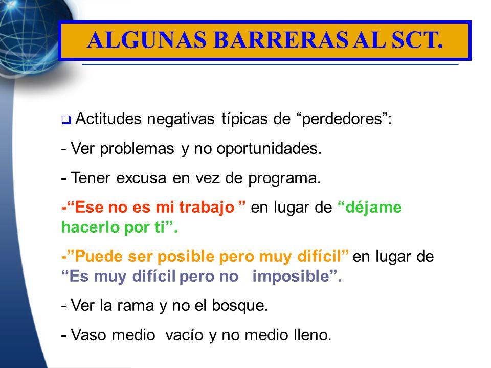 ALGUNAS BARRERAS AL SCT.