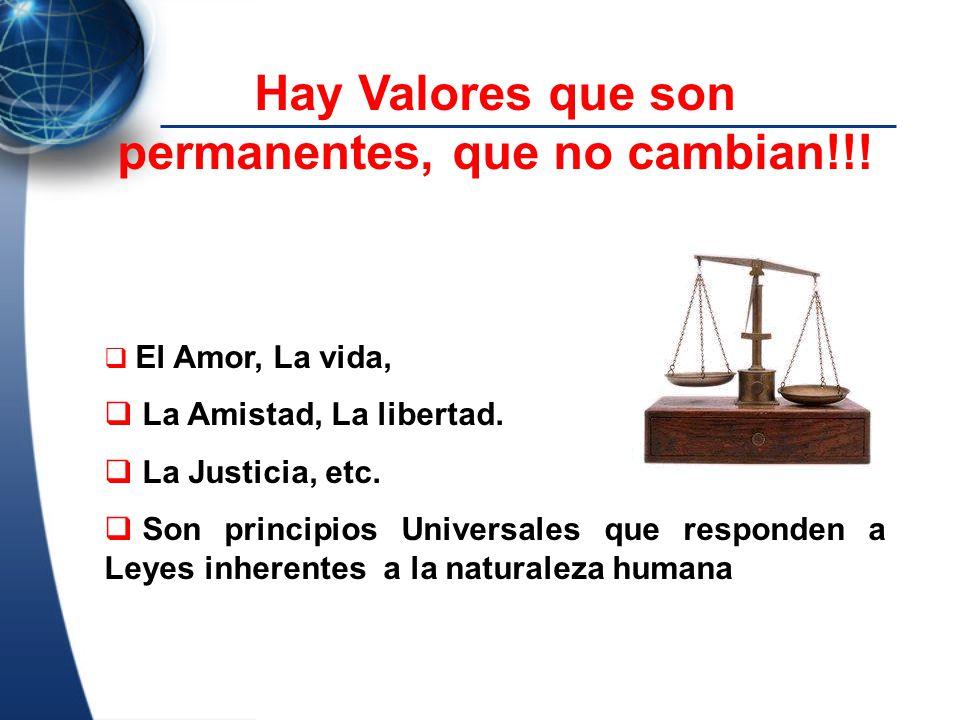Hay Valores que son permanentes, que no cambian!!!