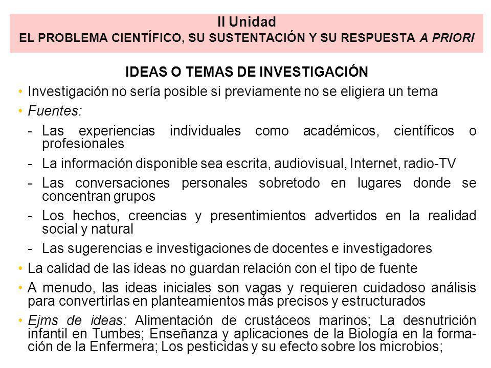 IDEAS O TEMAS DE INVESTIGACIÓN