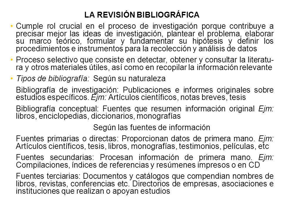 LA REVISIÓN BIBLIOGRÁFICA