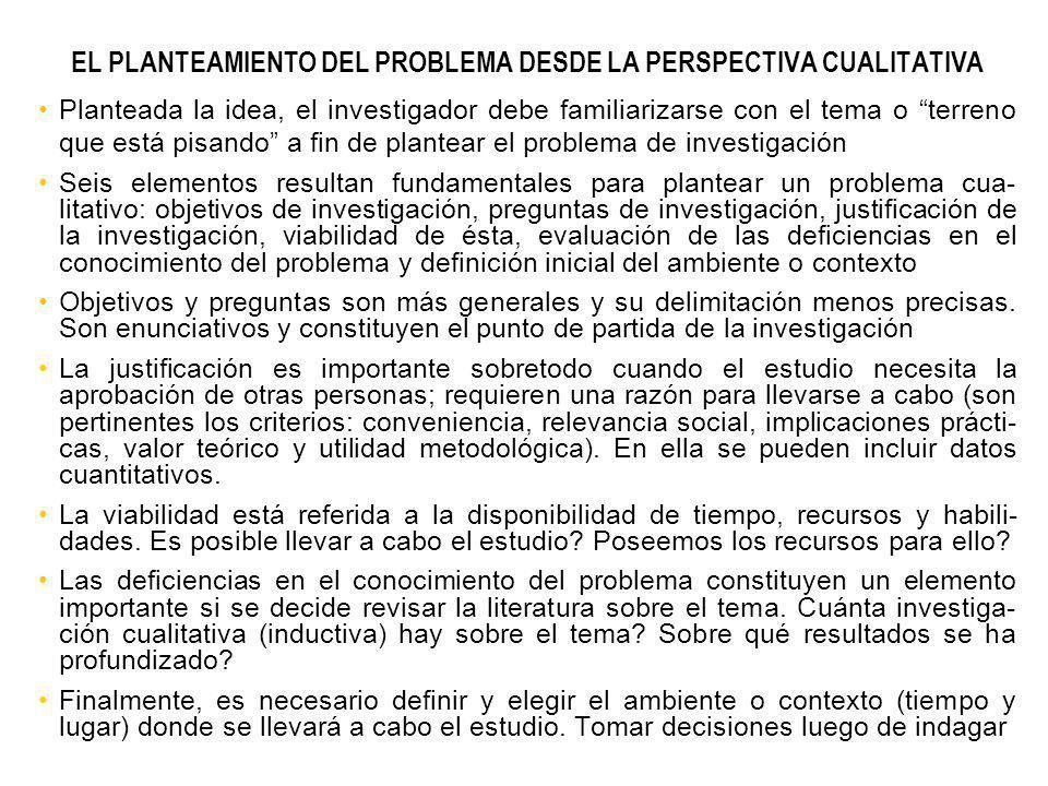 EL PLANTEAMIENTO DEL PROBLEMA DESDE LA PERSPECTIVA CUALITATIVA