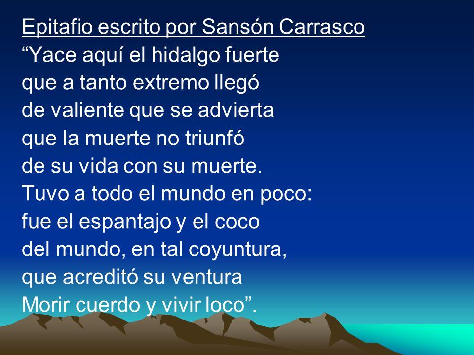 Epitafio escrito por Sansón Carrasco