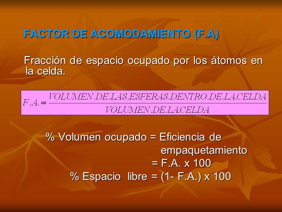 FACTOR DE ACOMODAMIENTO (F.A)