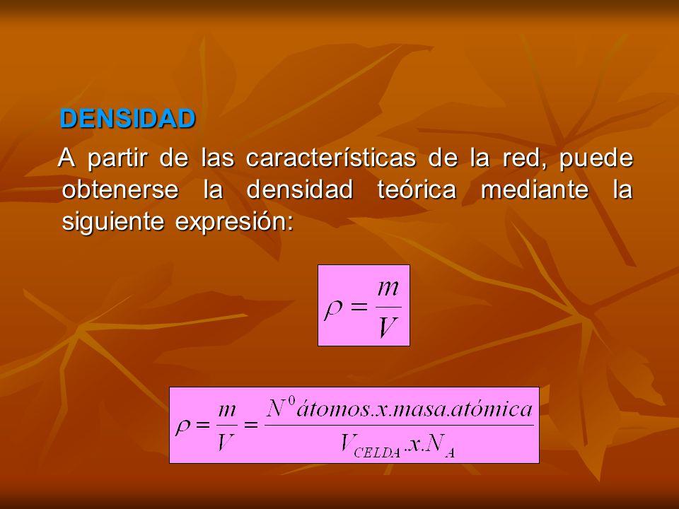 DENSIDAD A partir de las características de la red, puede obtenerse la densidad teórica mediante la siguiente expresión: