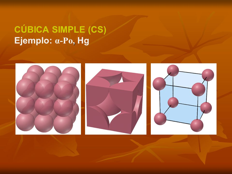 CÚBICA SIMPLE (CS) Ejemplo: α-Po, Hg