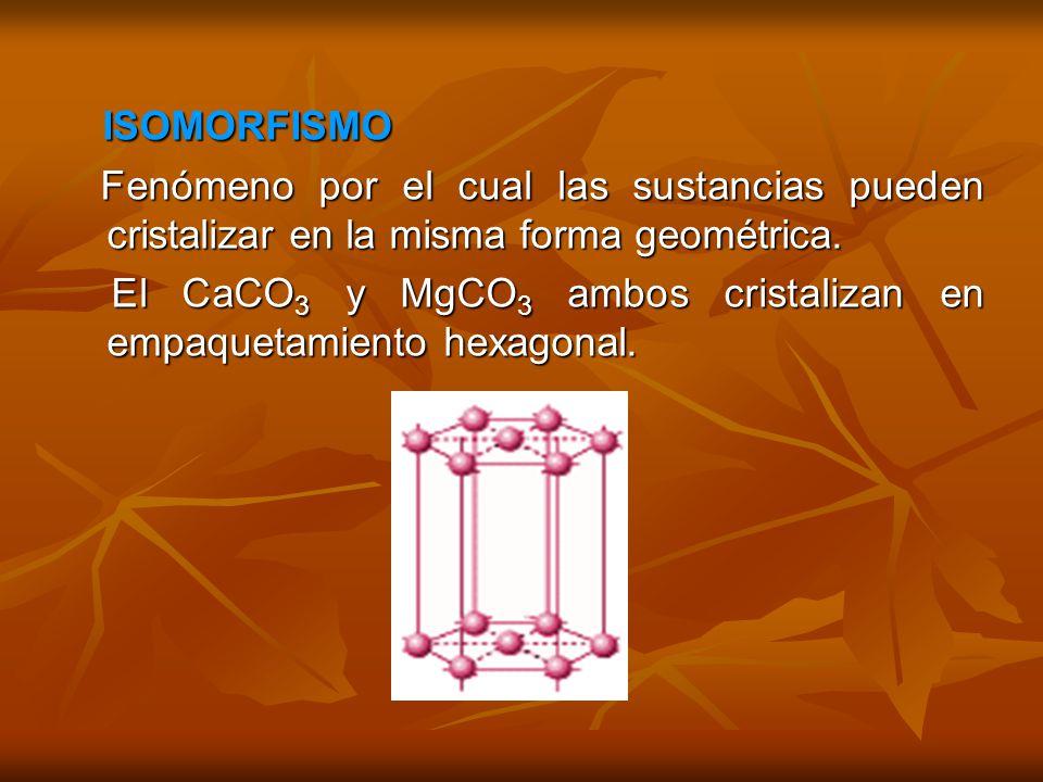 ISOMORFISMO Fenómeno por el cual las sustancias pueden cristalizar en la misma forma geométrica.