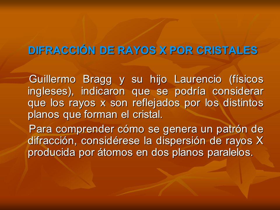 DIFRACCIÓN DE RAYOS X POR CRISTALES