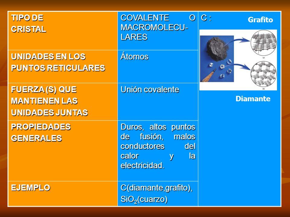 COVALENTE O MACROMOLECU-LARES C :