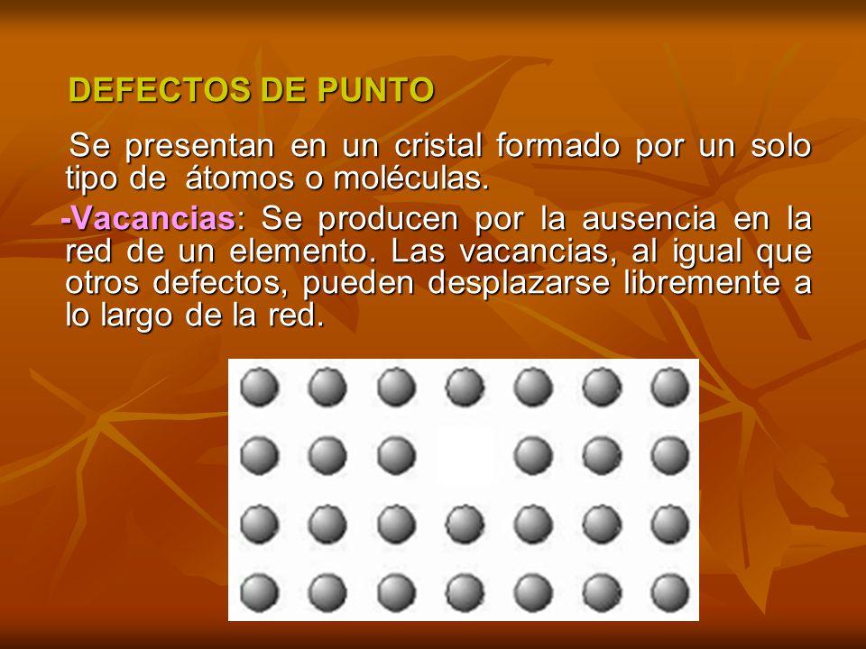 DEFECTOS DE PUNTO Se presentan en un cristal formado por un solo tipo de átomos o moléculas.