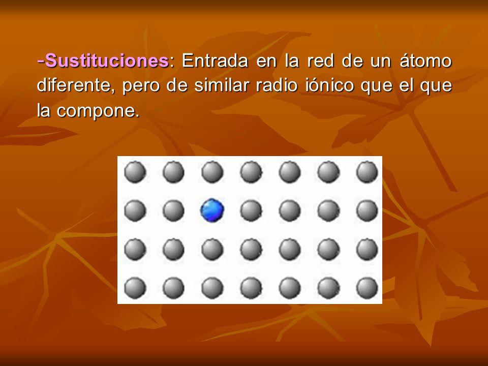 -Sustituciones: Entrada en la red de un átomo diferente, pero de similar radio iónico que el que la compone.