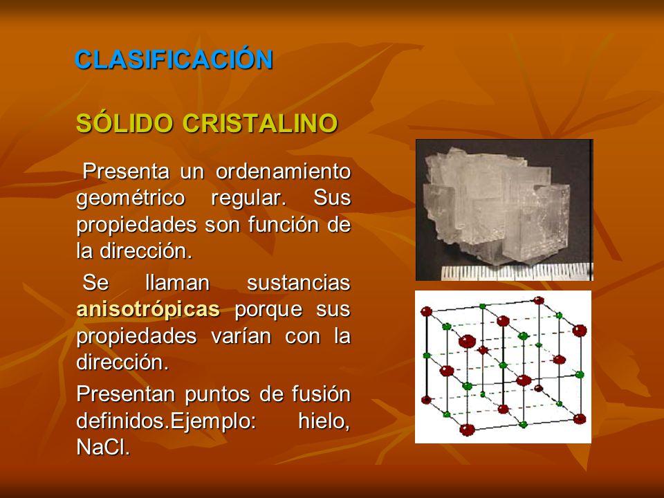 CLASIFICACIÓN SÓLIDO CRISTALINO