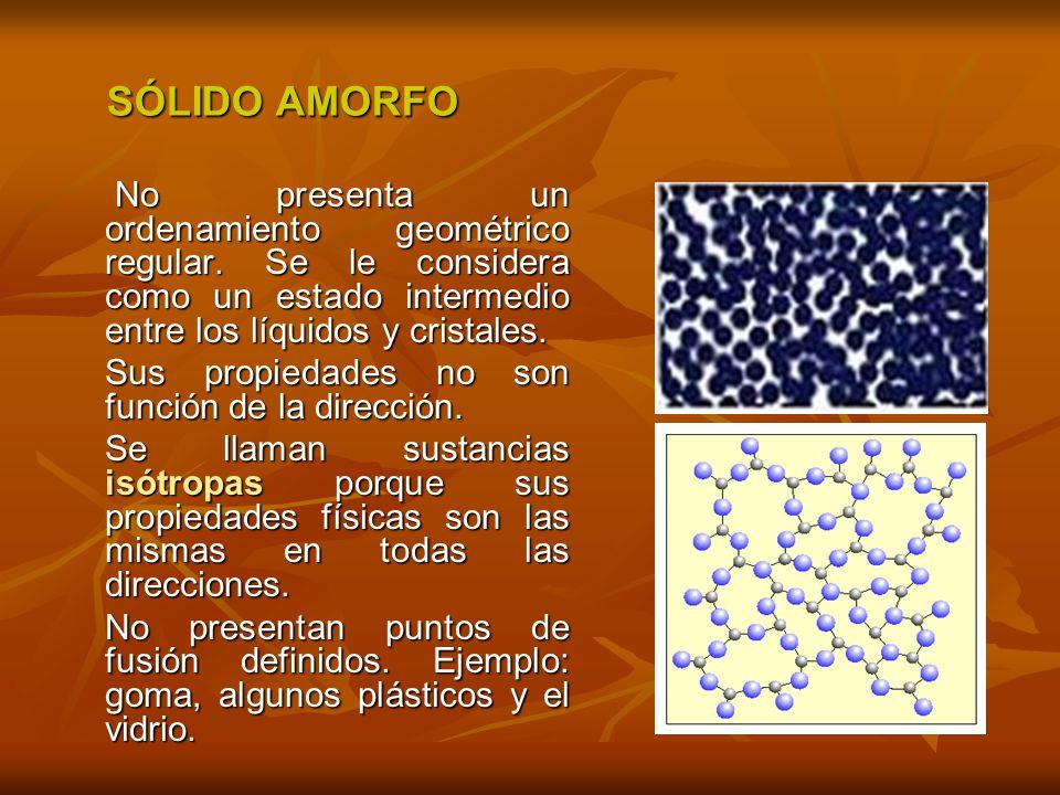 SÓLIDO AMORFO No presenta un ordenamiento geométrico regular. Se le considera como un estado intermedio entre los líquidos y cristales.