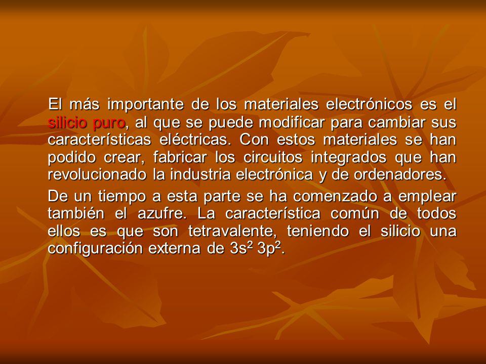El más importante de los materiales electrónicos es el silicio puro, al que se puede modificar para cambiar sus características eléctricas. Con estos materiales se han podido crear, fabricar los circuitos integrados que han revolucionado la industria electrónica y de ordenadores.