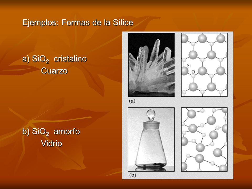 Ejemplos: Formas de la Sílice
