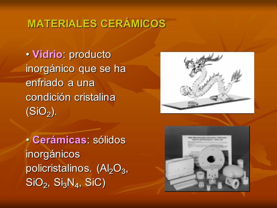 MATERIALES CERÁMICOS • Vidrio: producto. inorgánico que se ha. enfriado a una. condición cristalina.