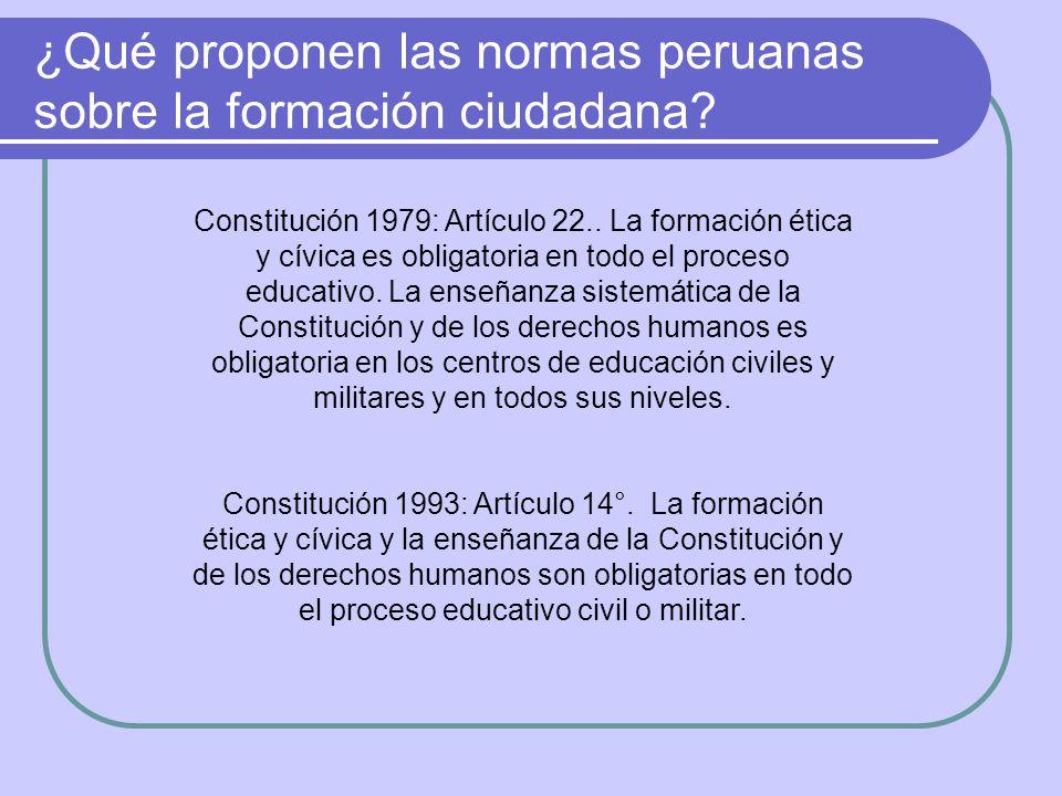 ¿Qué proponen las normas peruanas sobre la formación ciudadana