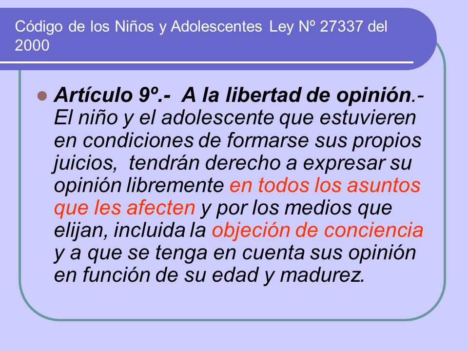 Código de los Niños y Adolescentes Ley Nº 27337 del 2000