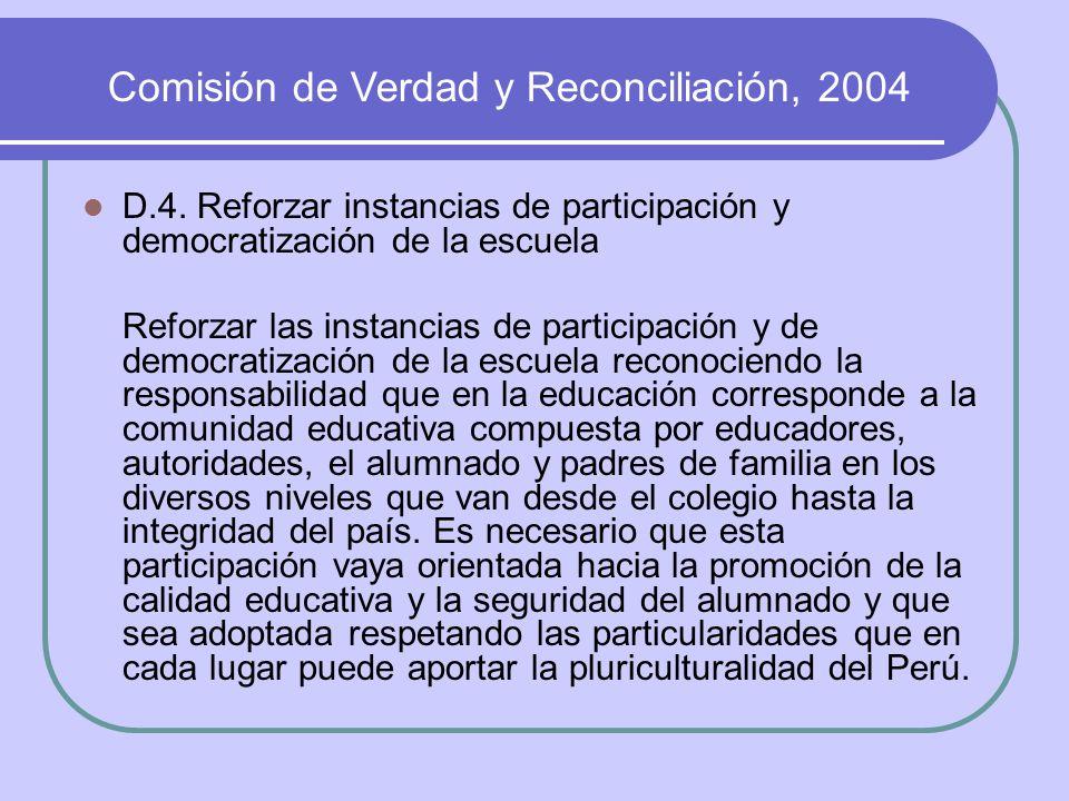 Comisión de Verdad y Reconciliación, 2004