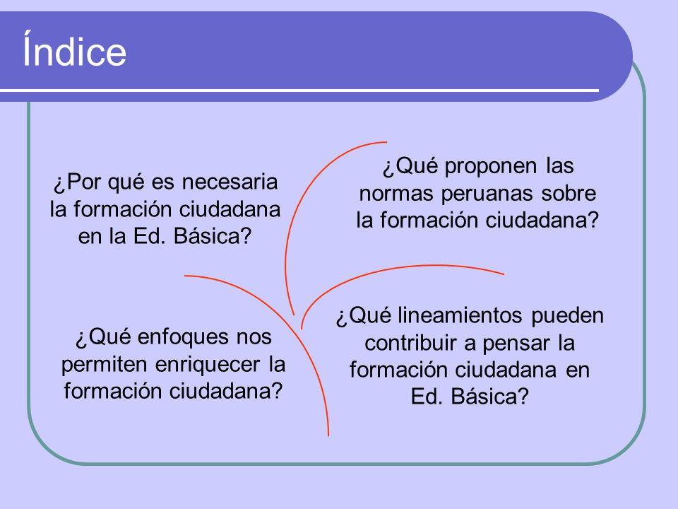 Índice ¿Qué proponen las normas peruanas sobre la formación ciudadana