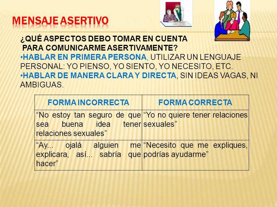 MENSAJE ASERTIVO ¿QUÉ ASPECTOS DEBO TOMAR EN CUENTA